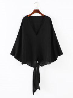 Knotted Hem V Neck Blouse - Black M