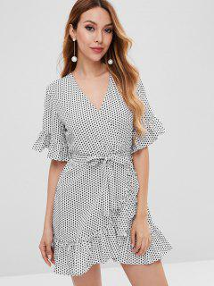 Polka Dot Surplice Ruffle Dress - White S