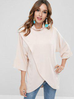 Overlay High Neck Asymmetrical Blouse - Apricot L
