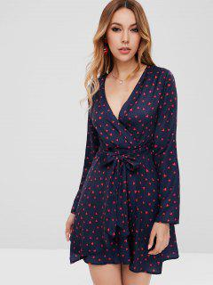 Heart Surplice Mini Dress - Navy Blue S