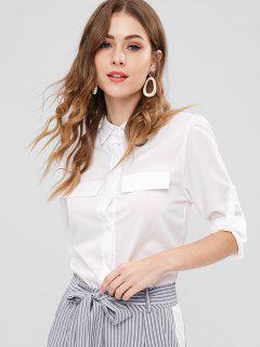 Camisa De Bolsillo De Imitación De Manga Larga - Blanco L