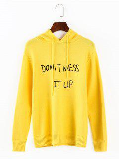 Letter Graphic Hooded Sweater - Yellow