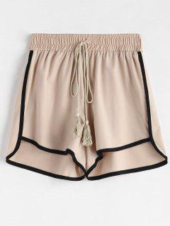 Drawstring Contrast Piping Shorts - Apricot M