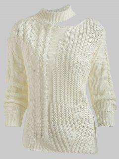 Cutout Drop Shoulder Chunky Sweater - White
