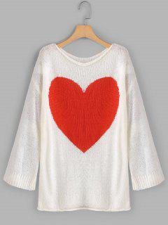 Loose Heart Graphic Sweater - White M
