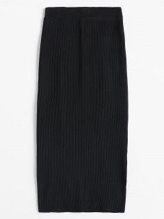Long Knitted Ribbed Skirt - Black