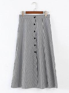 Button Front Plaid Flare Skirt - Black L