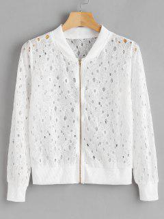 Ribbed Trim Lace Jacket - White L