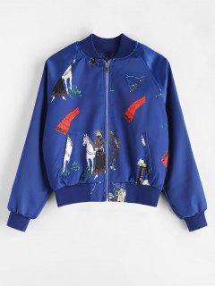 Horse Print Raglan Sleeve Bomber Jacket - Cobalt Blue L