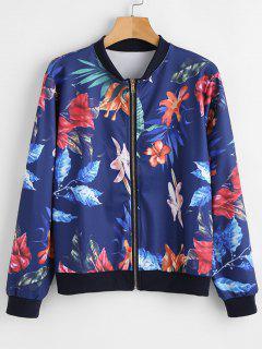 Leaf Print Bomber Jacket - Midnight Blue S