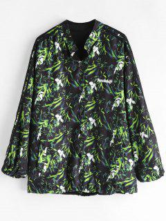 Button Front Printed Oversized Jacket - Black