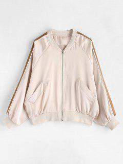 Raglan Sleeve Zipper Bomber Jacket - Warm White L