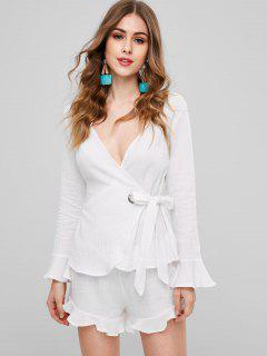 Flounce Wrap Top And Shorts - White L