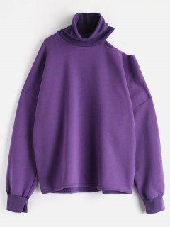 Fleece Lining Oversized Turtleneck Pullover Sweatshirt - Purple
