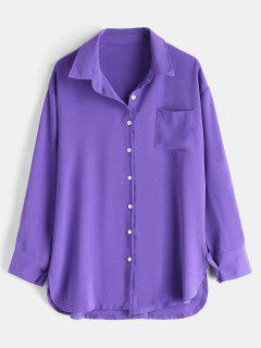 Drop Shoulder Patch Pocket Relaxed Casual Shirt - Purple