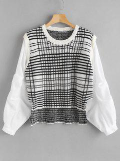 Checked Faux Twinset Sweater - Crystal Cream
