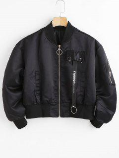 Figure Print Zip Pilot Jacket - Black L