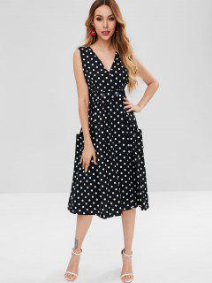 Polka Dot Button Front High Slit Midi Dress - Black L