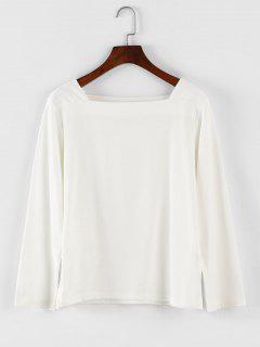 Square Neck Langarm-T-Shirt - Weiß