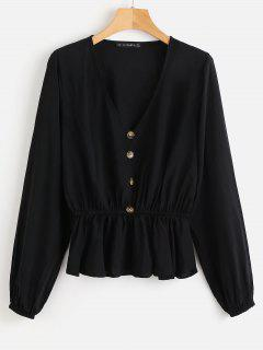 ZAFUL Button V Neck Blouse - Black L
