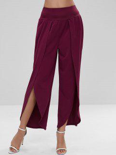 Wide Leg Slit High Waist Pants - Plum Pie L
