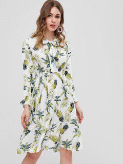 Long Sleeve Pineapple Midi Dress - White Xl