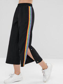Rainbow Stripe Slit Button Up Pants - Black M