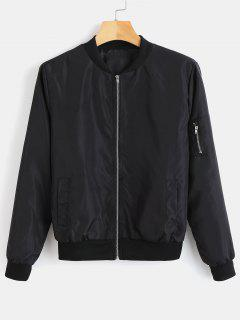 Utility Pocket Bomber Jacket - Black Xl