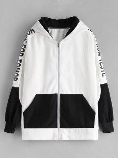 Color Block Zip Up Oversized Hoodie - White