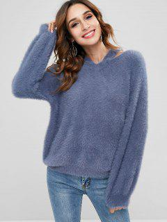 Open Shoulder Mohair Pullover Sweater - Blue Gray