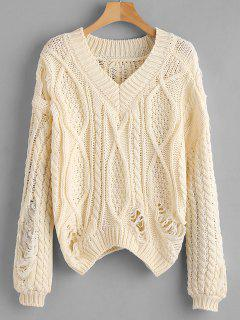 Zerrissene Chunky Knit Lose Pullover - Beige