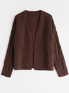 Open Front Cable Knit Fisherman Cardigan - Coffee