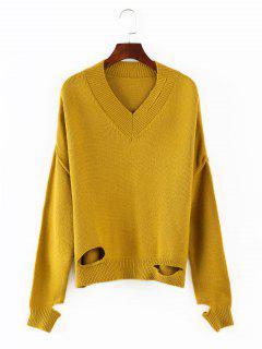 V Neck Cutout Sweater - Goldenrod