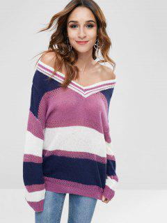 Color Block Chunky Drop Shoulder Sweater - Multi