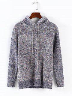 Hooded Drawstring Pullover Sweater - Multi