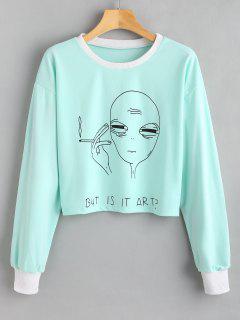 ZAFUL But Is It Art Alien Funny Sweatshirt - Light Cyan S