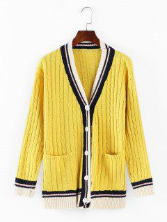 Cable Knit Buttoned Cardigan - Yellow