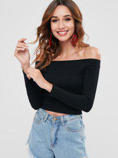 Knitted Off Shoulder Crop Tee - Black L
