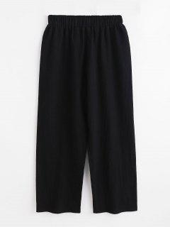 High Waist Wide Leg Pants - Black L