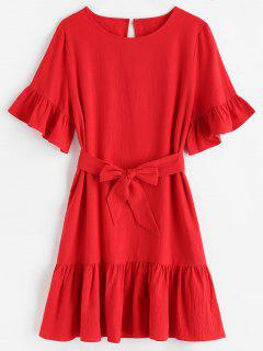 ZAFUL Belted Ruffles Mini Dress - Red L