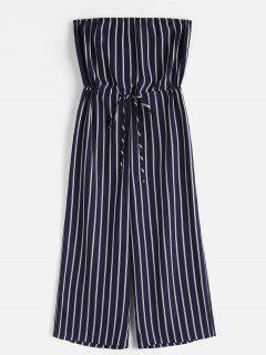 ZAFUL Striped Strapless Wide Leg Jumpsuit - Midnight Blue M