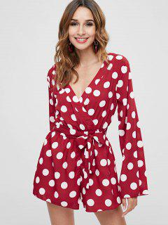 ZAFUL Polka Dot Belted Surplice Romper - Red M