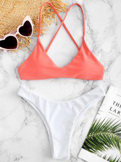 ZAFUL Gepolsterter Criss Cross Bikini Set - Wassermelonen Rosa M