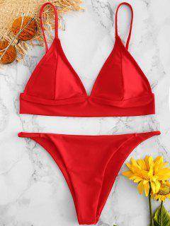 ZAFUL - Tief Sitzendes, Tief Ausgeschnittenes Bikini-Set - Lava Rot M