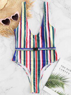 ZAFUL Colorful Stripe High Cut One Piece Swimsuit - Multi L