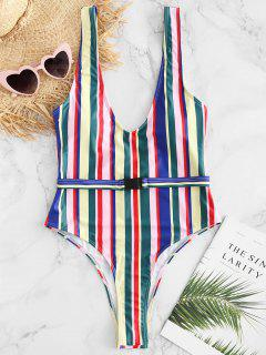 ZAFUL Colorful Stripe High Cut Traje De Baño De Una Pieza - Multicolor M