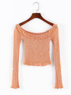 ZAFUL Ruffles Trim Off Shoulder Crop Sweater - Orange Pink L