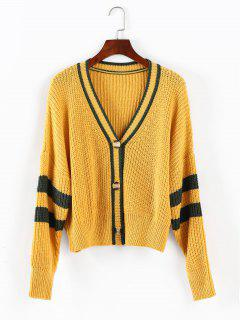 ZAFUL Drop Shoulder Stripe Cardigan Sweater - Golden Brown