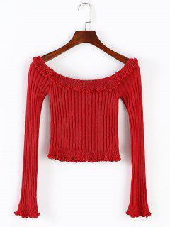 ZAFUL Ruffles Trim Off Shoulder Crop Sweater - Red S
