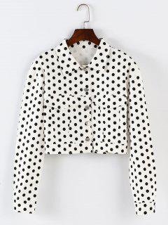 ZAFUL Polka Dot Button Up Cropped Jacket - White S